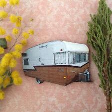 Retro caravan brooch Wooden lapel pin Vintage jewellery camper van funky jewelry