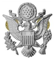 US AIR FORCE ARMY MILITARY OFFICERS CAP EAGLE BADGE INSIGNIA SILVER