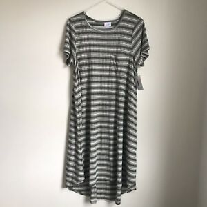 New LulaRoe Carly Striped RIbbed Green White Womens XL Hi Low Hem