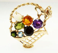 9ct Yellow Gold Fruit Basket Brooch (31mm Length)