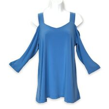 Sympli Canada Knit Top Size 10 Cold Shoulder French Blue 3/4 Sleeve