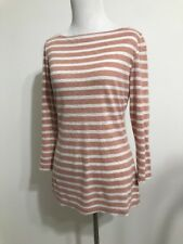 3117906b0 Tory Burch Nude Blush Off White Stripe Boatneck Linen Tee Small