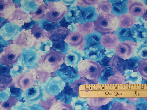 Rain Blossom Packed Roses Floral Fabric by the (continuous) 1/2 Yard #C7938