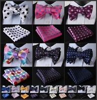 EMA Dot Floral Men Silk Woven Pocket Square Self Bow Tie Handkerchief Set