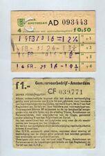 Bus Tram Tickets Kaarten - GVB Amsterdam - Multi Journey: 4 en 7 Ritten: c.1960s