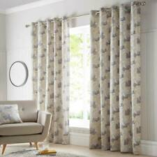 """Natural & Ochre Yellow Watercolour Floral 90"""" x 90"""" Drop Eyelet Lined Curtains"""