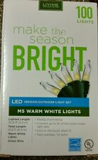 M5 LIVING SOLUTIONS 100 WARM WHITE LED LIGHTS SET CHRISTMAS INDOOR/ OUTDOOR NEW