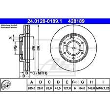 ORIGINAL ATE Bremsscheiben Satz vorne Toyota Hiace Bj.89-