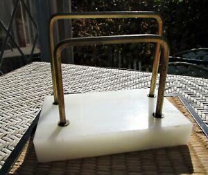 Vintage Marble / Brass Letter Holder Envelope Stand Office Desk Accessory