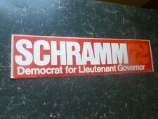 Jack Schramm Missouri Campaign 1972 Bumper Sticker Democrat Lieutenant Governor
