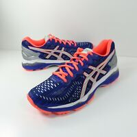 Asics Womens Gel-Kayano Running Shoes T6A6N Blue Silver Flash Coral Size 8.5