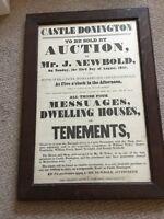Castle Donington Poster. 1847. Sale of buildings. Unique.