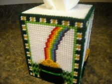 "Tissue Box Cover - St Patrick ""Pot Of Gold"" - Plastic Canvas"