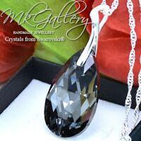 925 Silver Necklace/Pendant Crystals fom Swarovski®  * SILVER NIGHT * PEAR 28mm