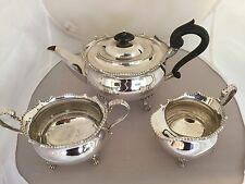 Lovely 3 PIECE SILVER PLATED TEA service All on 4 Pad Feet (SPTS 1199)
