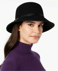 Nine West Felt Wool Trench Cloche Hat Black One Size