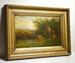Little Bird Catchers Ambush 19C Oil Landscape Well Framed