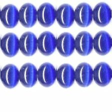 "Cats Eye Beads 4mm Royal blue Strand Grade ""A"" Fiber optic 100 Beads per strand"