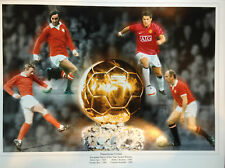 MANCHESTER UNITED - 4 EUROPEAN PLAYERS OF THE YEAR - LARGE LIMITED EDITION PRINT