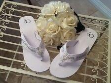 Wedding ,Bride, Bridal Party, Formal Flip Flops, personalized  wedge or flat