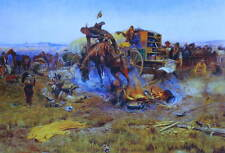 """Charles Russell print """"Bucking Horse in Cowboy Camp"""""""