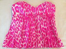 BETSEY JOHNSON Pink Leopard Cheetah Animal Print Vintage Pinup Silk Bustier Top