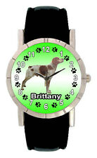 Brittany Dog Mens Ladies Genuine Black Leather Band Quartz Wrist Watch SA1211