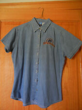 Reno Rodeo DENIM Short Sleeve Shirt Women's Size Medium Button down with logo