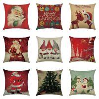 "18"" Cotton Linen Christmas Pattern Pillow Case Sofa Car Cushion Cover Home Decor"