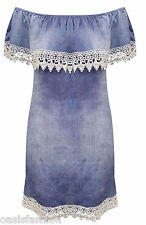 Women's Denim Cold & Off Shoulder Bardot Dress Top Shirt Button Frill Size 8-16
