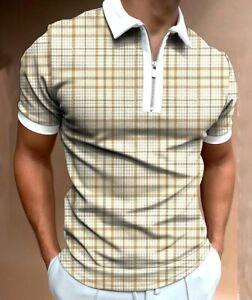 Polo Shirt Men Zipper Collar Fashion Fitness Golf 2 Tone Contrast Zip T-Shirt US