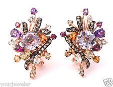 LeVian Earrings Pink Amethyst Chocolate Diamonds Garnet 9.69cttw 14K Rose Gold