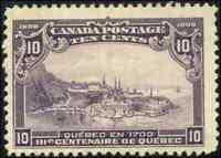Canada #101 mint F-VF OG HR DG 1908 Quebec 10c violet Quebec in 1700 JUMBO