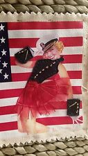 Purse PinUp Girl Navy Hat Xhilaration Corn Husk Woven Beaded Ribbon Patriotic
