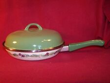 """Pfaltzgraff ~ Jamberry ~ Large 10"""" Handled Skillet With Solid Green Lid"""