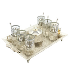 Silver Plated Tea Set of 6 Cups & Saucers with Spoons, Serving Tray & Sugar Bowl