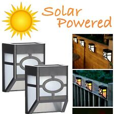 Black Solar Fence Post Lights Outdoor Solar LED Garden Post Wall Lights Decking