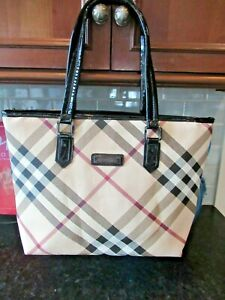 Very Nice BURBERRY LONDON Patent Canvas Leather Tote Shoulder Bag 16 x 11 x 4""