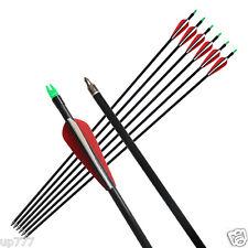 "6pcs Fiberglass Arrows 33"" Hunting Shaft Fletched Screw On/off Tips Archery"