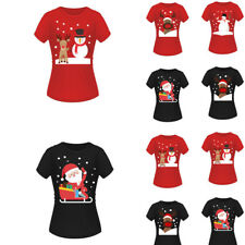Women Christmas Short Sleeve Tops Men Santa Xmas T Shirt Pullover Funny Jumper