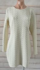 Sheike Fame & Fortune Dress Size 14 Cream Long sleeve Knit Embossed