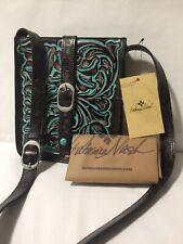 Patricia Nash Crossbody VENEZIA Tooled Turquoise Floral Leather Shoulder Bag NWT