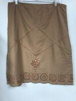 Anthropologie Odille Womens 14 Skirt Peach Tan Cut Out Skirt Geometric