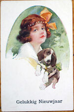 1930 Glamour Postcard - Little Girl w/Dog & A Large Bow
