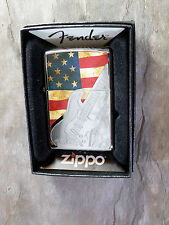 "Zippo  ""FENDER GUITAR"" with USA Flag - Chrome poliert -  NEU & ovp - #508"