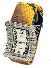 VISAGEXCHANGE:WOMENS YELLOW SNAKESKIN LOOK LEATHER BAND QUARTZ ANALOG WATCH