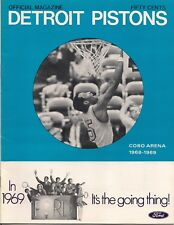 1968-69 Detroit Pistons Program Cobo Arena Harold Hairston Very Good Condition