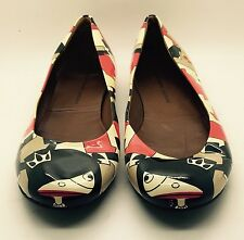 MARC JACOBS Red Black Coated Canvas Geometric Art Ballerina Flats RARE 38 Italy