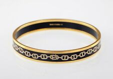 Hermes Enamel Thin Bangle with Chain d'Ancre Print Design Gold Trim