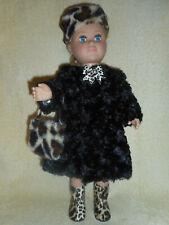 18 doll clothes fits American girl & My Life fur coat leopard trim boots hat bag
